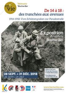 Affiche de l'exposition De 14 à 18: des tranchées aux avenues à Bischwiller
