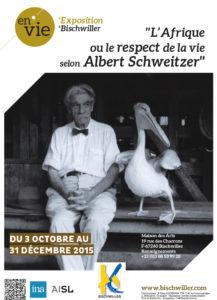 Affiche de l'exposition L'Afrique ou le respect de la vie selon Albert Schweitzer à Bischwiller